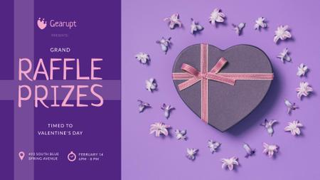 Ontwerpsjabloon van FB event cover van Valentine's Day Heart-Shaped Gift in Purple