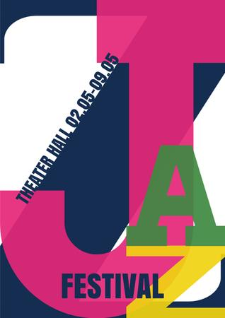 Template di design Jazz Festival Announcement with Colorful Inscription Poster