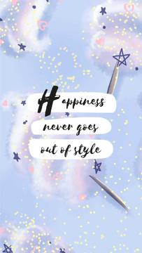 Happiness Quote on blue pattern