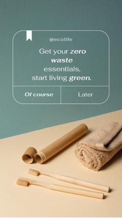 Zero Waste Concept with Wooden Toothbrushes Instagram Storyデザインテンプレート