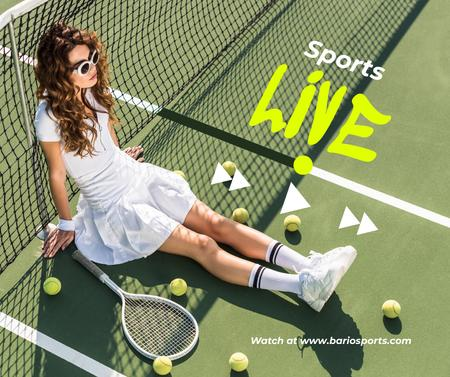 Template di design Live Translation of Sport Event with Tennis Player Facebook