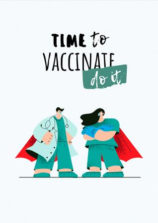 Plantilla de diseño de Vaccination Announcement with Doctors in Superhero's Cloaks Poster