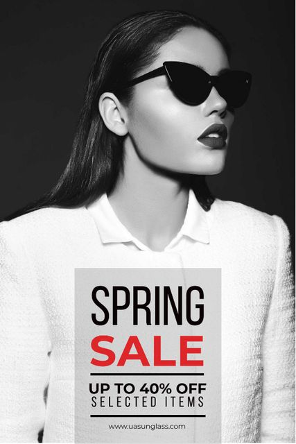 Sunglasses Sale with Woman in Black and White Tumblr Design Template