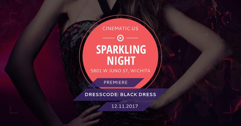 Modèle de visuel Sparkling night party with posing Woman - Facebook AD