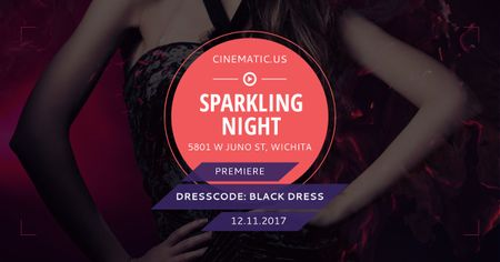 Sparkling night party with posing Woman Facebook AD – шаблон для дизайна