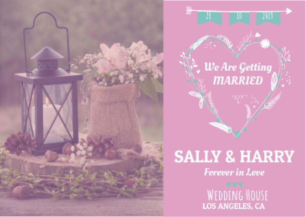 Wedding Invitation with Flowers in Pink — Maak een ontwerp