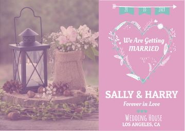Wedding Invitation with Flowers in Pink