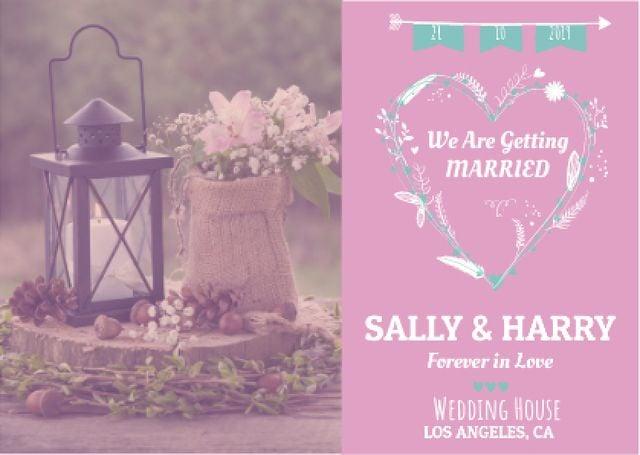Wedding Invitation with Flowers in Pink Postcard – шаблон для дизайна