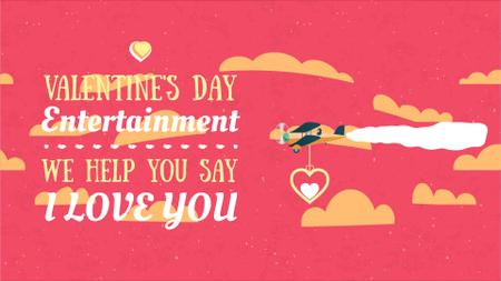 Plantilla de diseño de Plane carrying Valentine's Day Heart Full HD video