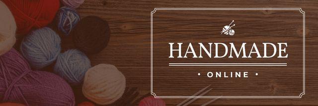 Plantilla de diseño de handmade online banner with yarn Twitter