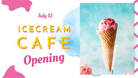 Modèle de visuel Melting ice cream in pink for Cafe opening - FB event cover
