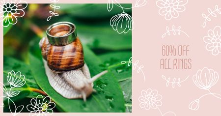 Jewelry Offer with Ring on Snail Facebook AD Modelo de Design