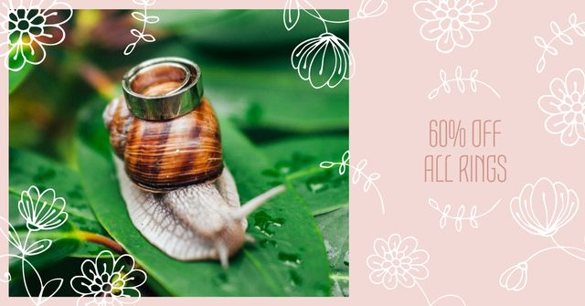 Ontwerpsjabloon van Facebook AD van Jewelry Offer with Ring on Snail