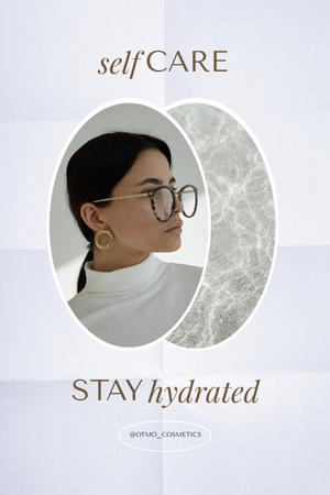 Skincare Ad with Girl in Stylish Glasses Pinterest Modelo de Design