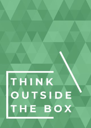 Think outside the box quote on green pattern Flayer Design Template