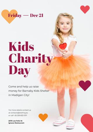 Ontwerpsjabloon van Poster van Kids Charity Day with Girl with Heart Candy