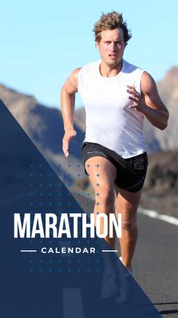 Ontwerpsjabloon van Instagram Story van Marathon Calendar Ad with Running Man