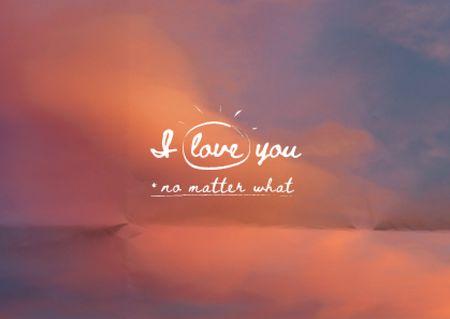 Cute Love Phrase with Pink Clouds Card Modelo de Design