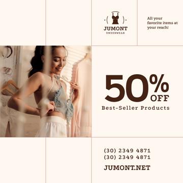 Underwear Store Sale Woman Holding Lingerie