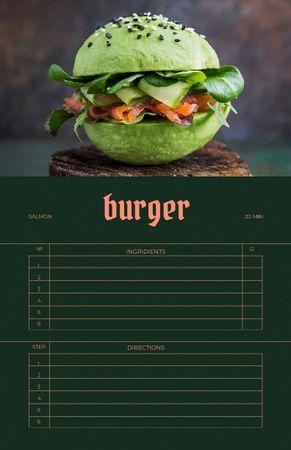 Modèle de visuel Delicious Burger with Green Buns - Recipe Card