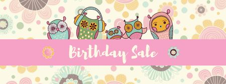 Birthday Sale Announcement with Cute Owls Facebook cover Tasarım Şablonu