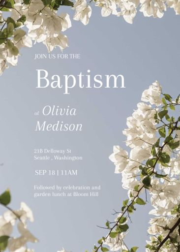 Baptism Ceremony Announcement With Blooming Twigs