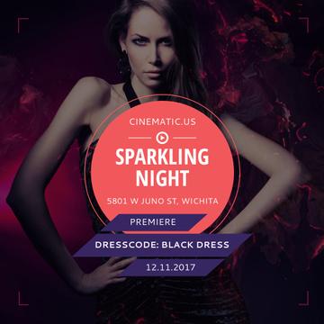 Night Party Invitation Woman in Black Dress