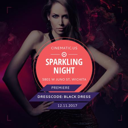Night Party Invitation Woman in Black Dress Instagram AD Design Template