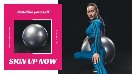 Modèle de visuel Workout Offer with Woman and Fitness Ball - FB event cover