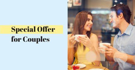 Ontwerpsjabloon van Facebook AD van Cute Couple on Date in Cafe