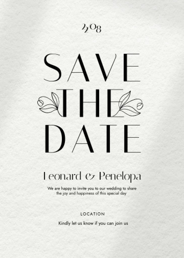 Template di design Save the Date Event Announcement with Flowers Illustration Invitation
