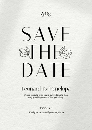 Save the Date Event Announcement with Flowers Illustration Invitation – шаблон для дизайну