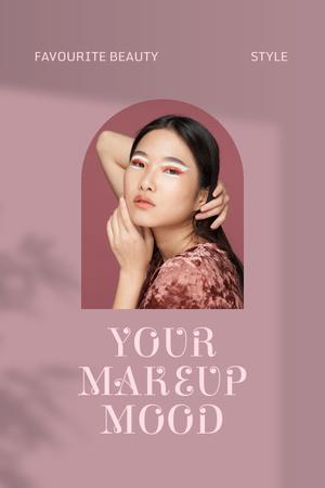 Plantilla de diseño de Beauty Ad with Girl in Bright Makeup Pinterest