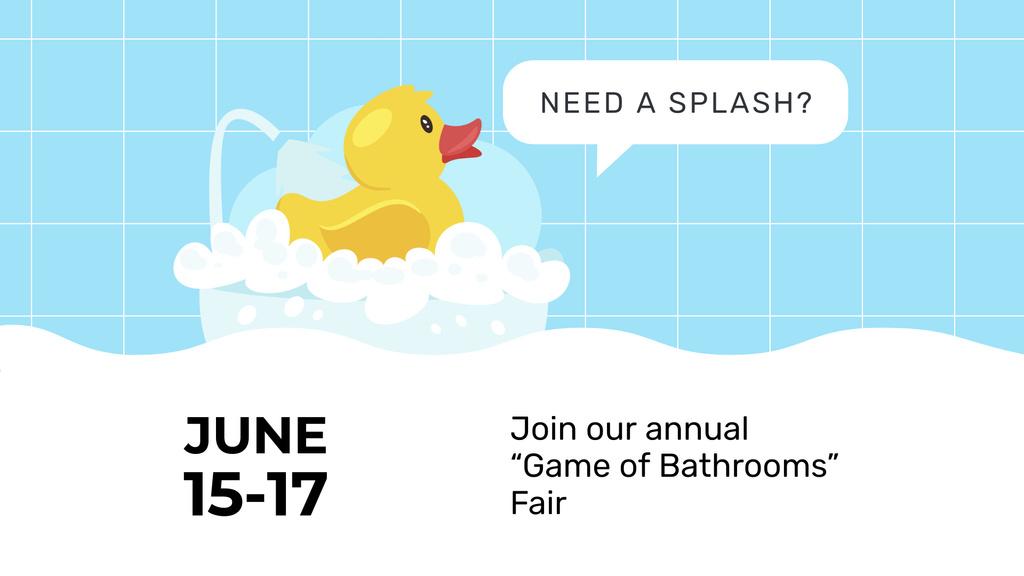 Plantilla de diseño de Bathtub with Foam and Rubber Duck FB event cover
