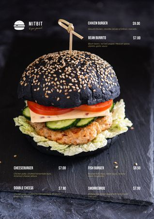 Plantilla de diseño de Delicious black Burger Menu