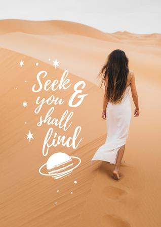 Inspirational Phrase with Woman in Desert Poster – шаблон для дизайна