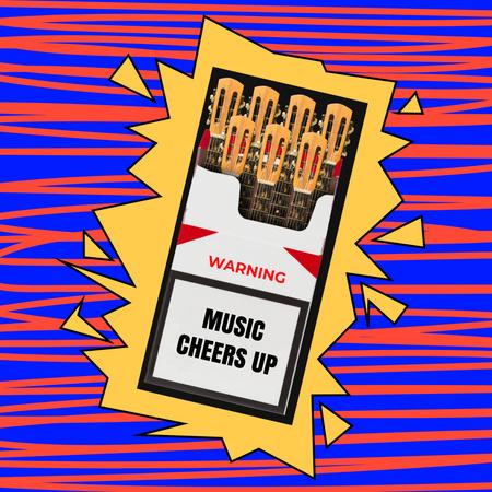 Funny Illustration of Guitars in Pack of Cigarettes Instagram – шаблон для дизайну