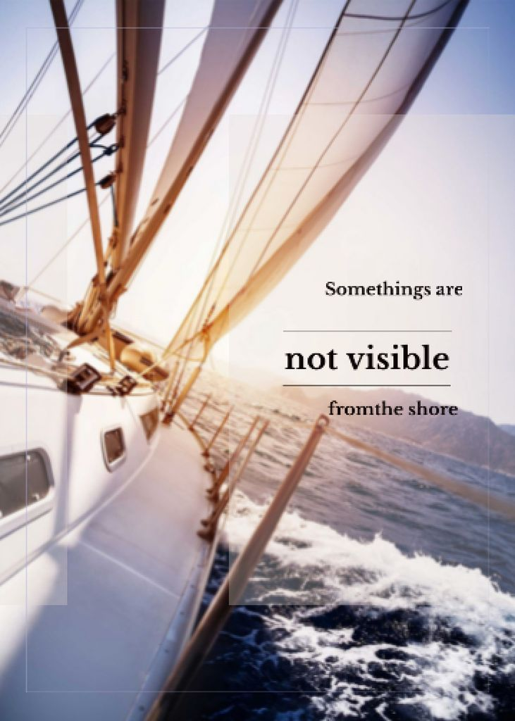 White Yacht in Sea with Inspirational Quote Flayer Modelo de Design