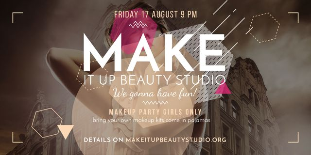 Beauty Studio ad with stylish Woman Image Design Template
