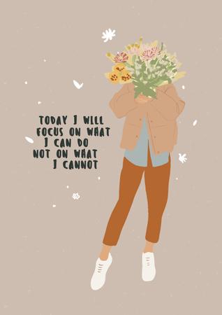 Plantilla de diseño de Mental Health Inspiration with Woman holding Bouquet Poster