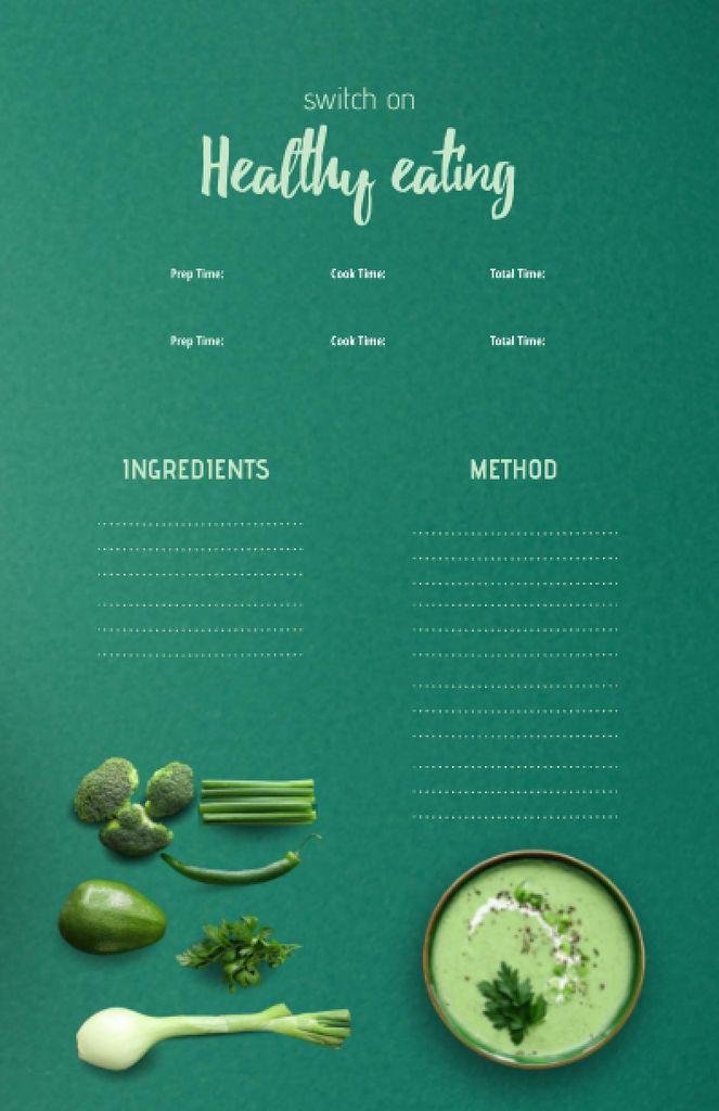 Healthy Veggie Cream Soup in Bowl Recipe Cardデザインテンプレート