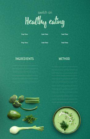 Template di design Healthy Veggie Cream Soup in Bowl Recipe Card