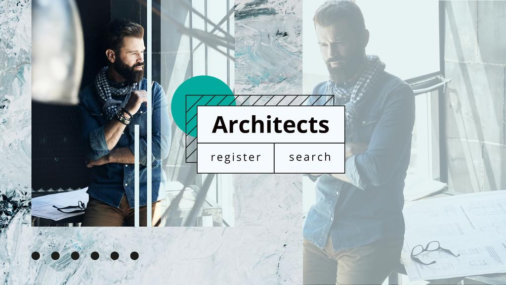 Architect working with blueprints Youtube Design Template