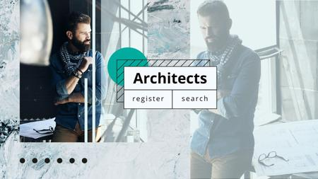 Architect working with blueprints Youtubeデザインテンプレート