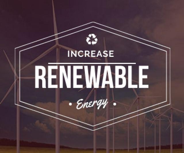 Plantilla de diseño de Renewable Energy Wind Turbines Farm Large Rectangle