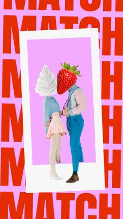 Plantilla de diseño de Funny Kiss of Strawberry and Ice Cream with Human Bodies Instagram Story