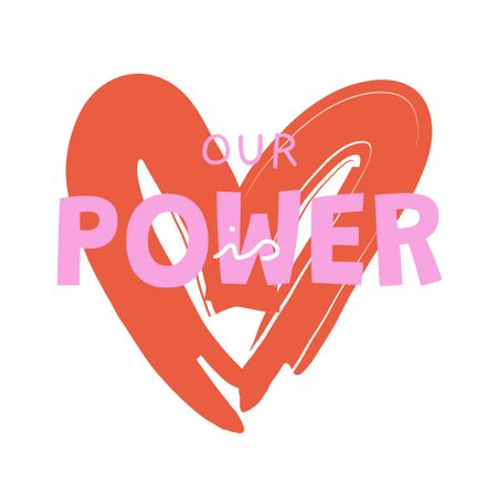 Ontwerpsjabloon van Logo van Girl Power Inspiration with Red Heart