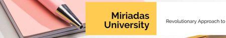 University profile with stationery on table LinkedIn Cover Modelo de Design