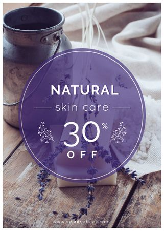 Plantilla de diseño de Natural skincare sale with lavender Soap Flayer