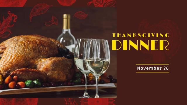 Thanksgiving Dinner Announcement with Turkey and Wine FB event cover – шаблон для дизайна
